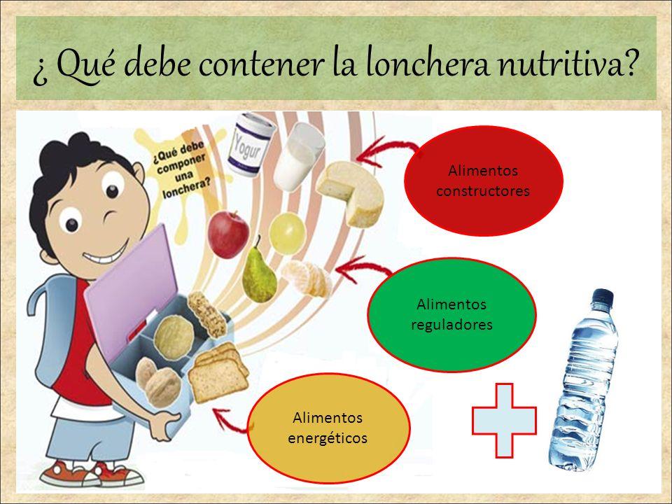 Alimentos constructores Alimentos energéticos Alimentos reguladores ¿ Qué debe contener la lonchera nutritiva?