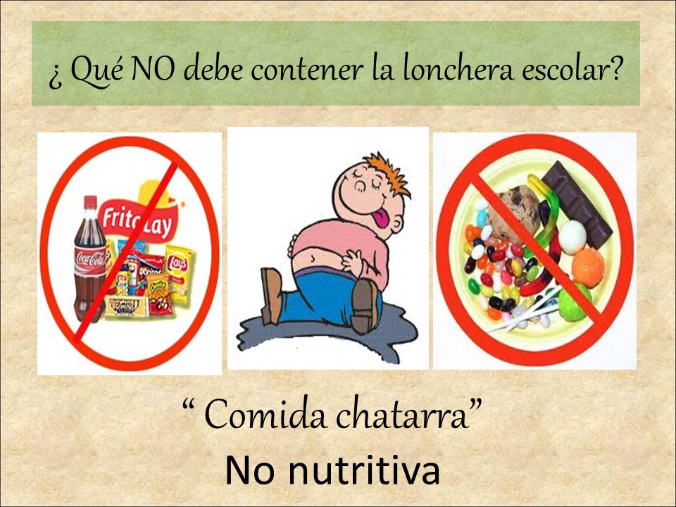 ¿ Qué NO debe contener la lonchera escolar? Comida chatarra No nutritiva