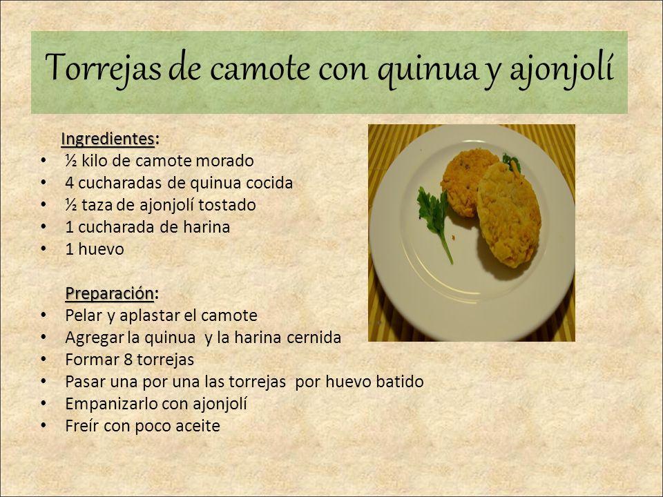 Ingredientes Ingredientes: ½ kilo de camote morado 4 cucharadas de quinua cocida ½ taza de ajonjolí tostado 1 cucharada de harina 1 huevo Preparación