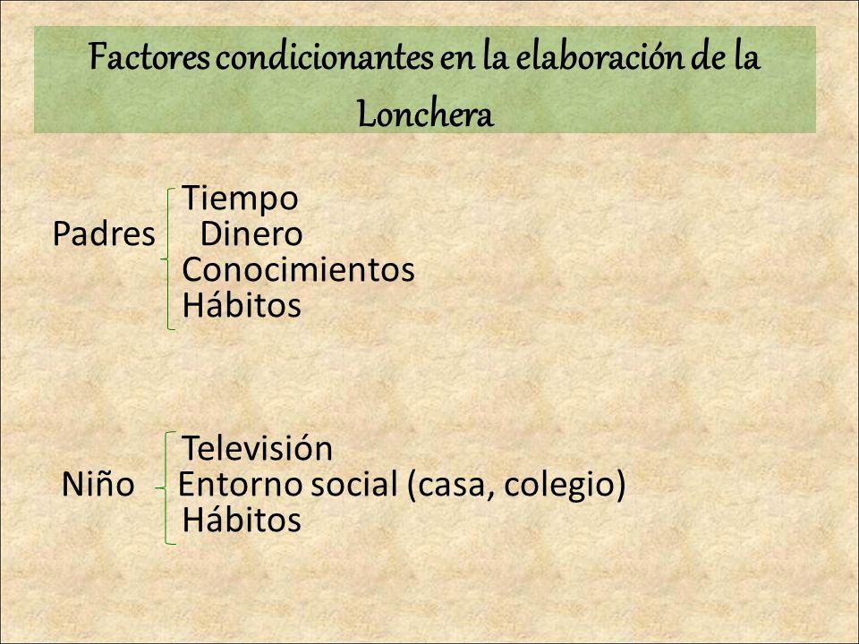 Tiempo Padres Dinero Conocimientos Hábitos Televisión Niño Entorno social (casa, colegio) Hábitos Factores condicionantes en la elaboración de la Lonc