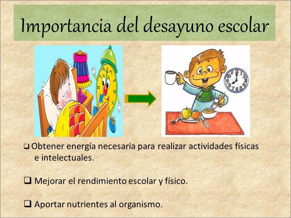 Importancia del desayuno escolar Obtener energía necesaria para realizar actividades físicas e intelectuales. Mejorar el rendimiento escolar y físico.