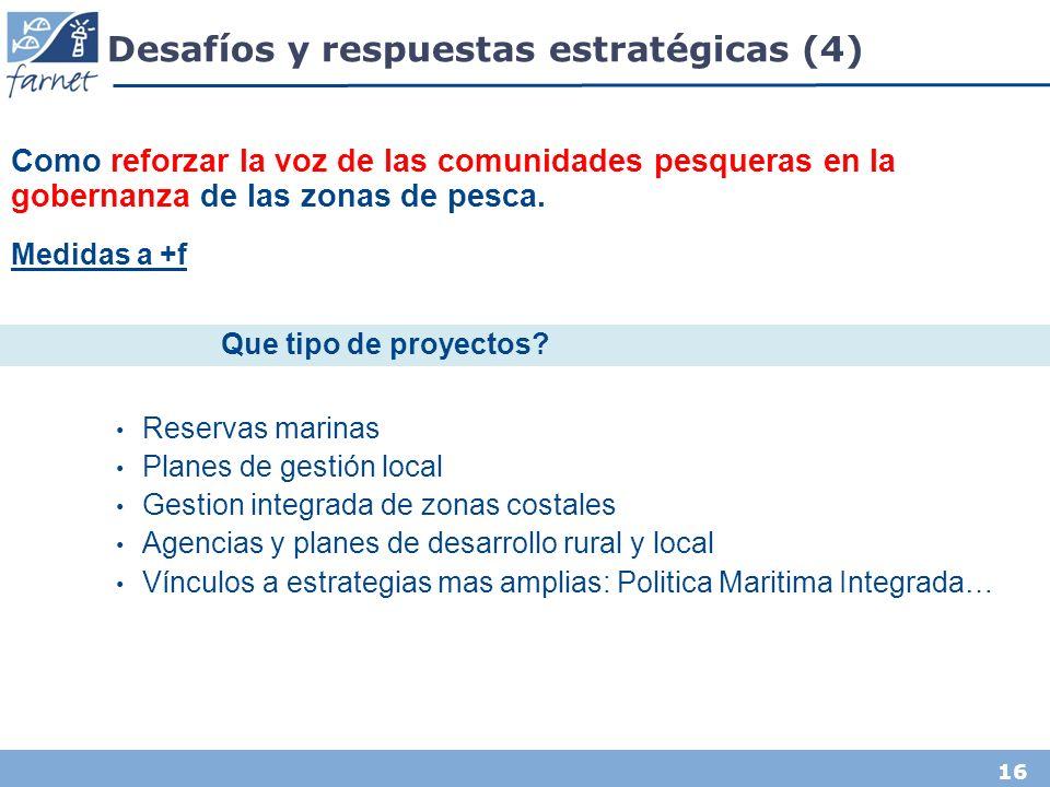 16 Desafíos y respuestas estratégicas (4) Como reforzar la voz de las comunidades pesqueras en la gobernanza de las zonas de pesca.