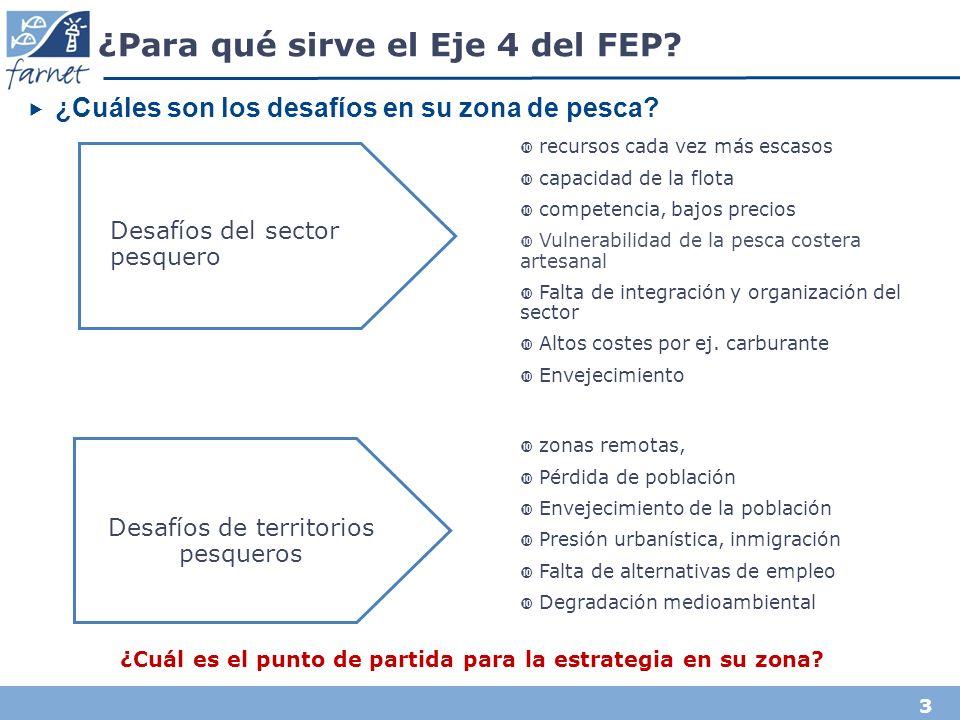 3 ¿Para qué sirve el Eje 4 del FEP. ¿Cuáles son los desafíos en su zona de pesca.