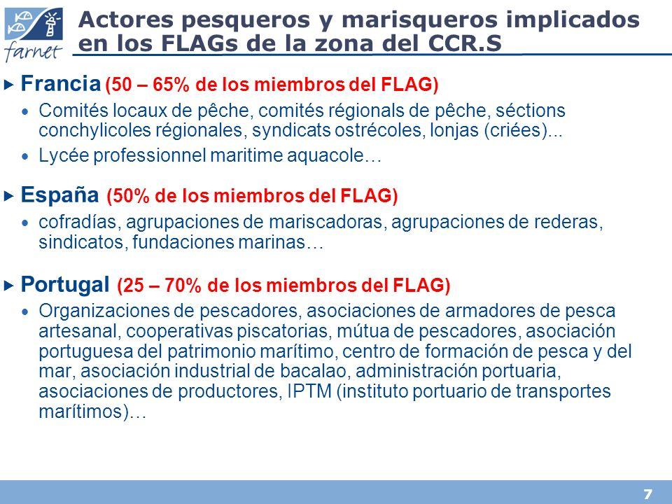 7 Actores pesqueros y marisqueros implicados en los FLAGs de la zona del CCR.S Francia (50 – 65% de los miembros del FLAG) Comités locaux de pêche, comités régionals de pêche, séctions conchylicoles régionales, syndicats ostrécoles, lonjas (criées)...