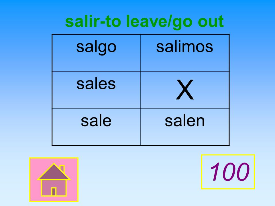 Give the English meaning of the verb and then complete the chart with the correct present tense forms of the verb. X salir