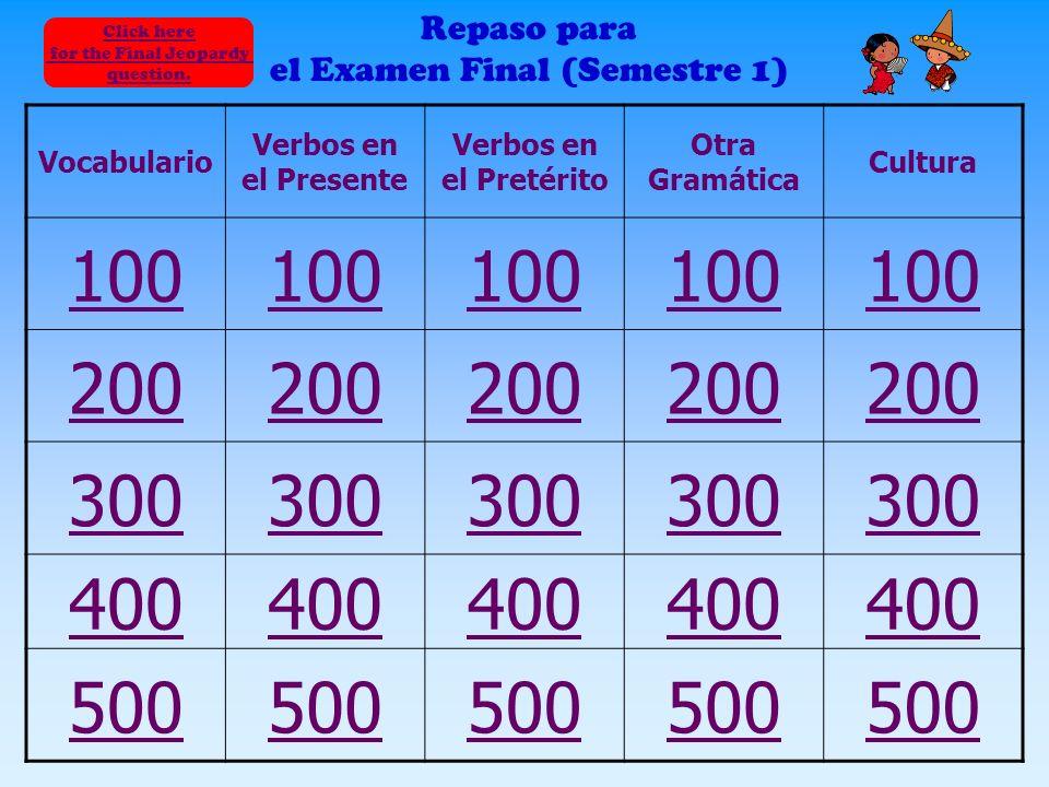Repaso para el examen final Español II La Señora Mayerson