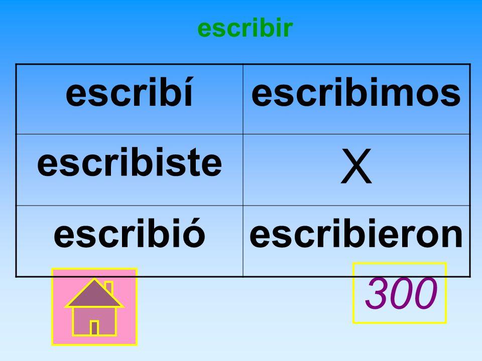 X escribir Give correct PRETERITE forms of the verb.