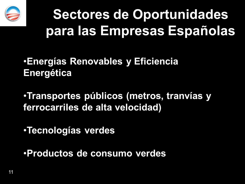 Sectores de Oportunidades para las Empresas Españolas Energías Renovables y Eficiencia Energética Transportes públicos (metros, tranvías y ferrocarriles de alta velocidad) Tecnologías verdes Productos de consumo verdes 11