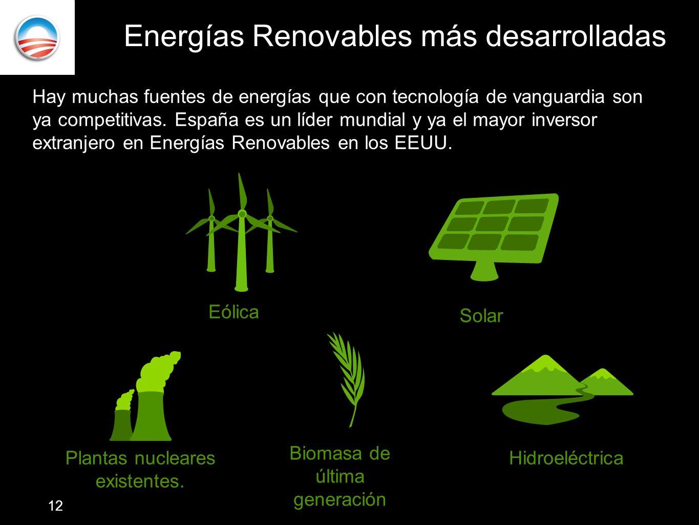 Energías Renovables más desarrolladas Hay muchas fuentes de energías que con tecnología de vanguardia son ya competitivas. España es un líder mundial