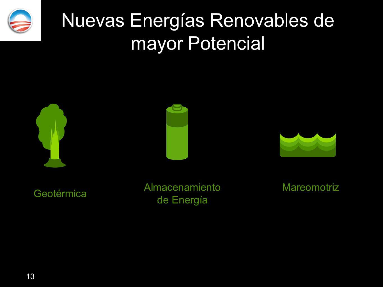 Nuevas Energías Renovables de mayor Potencial Mareomotriz Geotérmica Almacenamiento de Energía 13