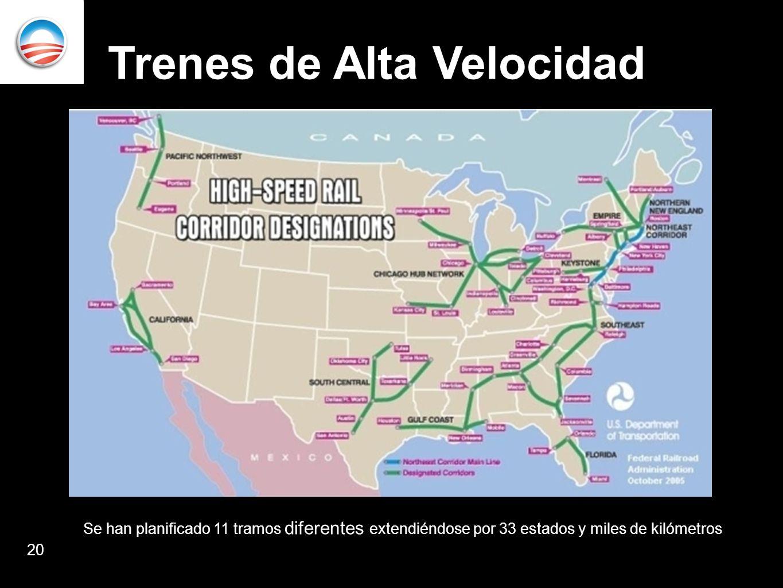 Trenes de Alta Velocidad 20 Se han planificado 11 tramos diferentes extendiéndose por 33 estados y miles de kilómetros
