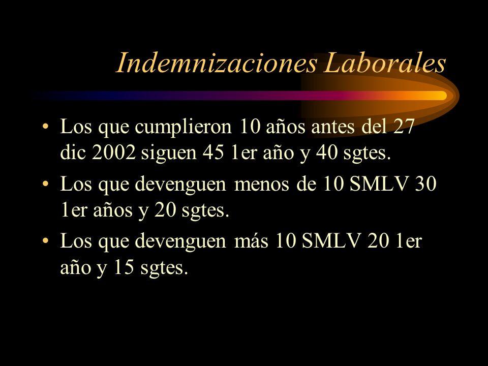 Indemnizaciones Laborales Los que cumplieron 10 años antes del 27 dic 2002 siguen 45 1er año y 40 sgtes. Los que devenguen menos de 10 SMLV 30 1er año