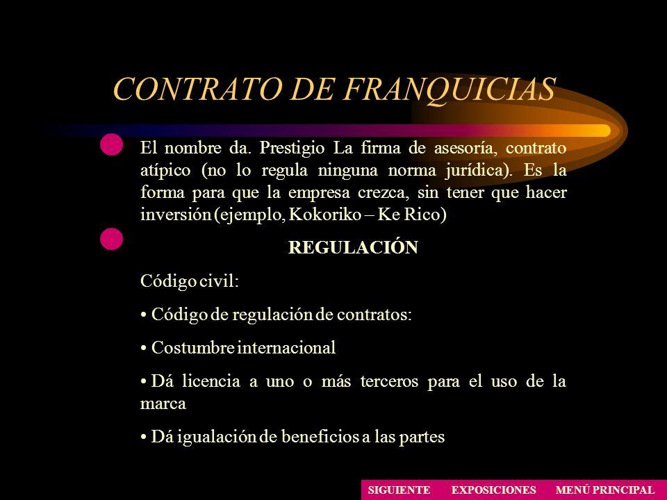 CONTRATO DE FRANQUICIAS SIGUIENTE El nombre da. Prestigio La firma de asesoría, contrato atípico (no lo regula ninguna norma jurídica). Es la forma pa
