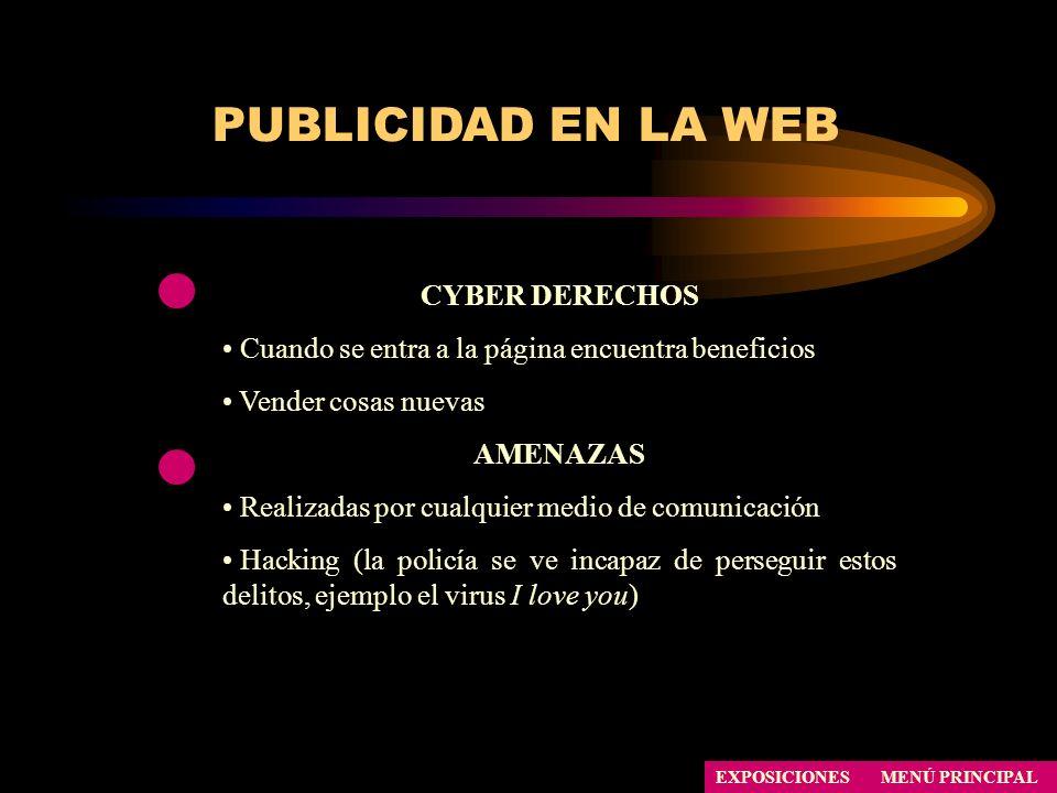 PUBLICIDAD EN LA WEB CYBER DERECHOS Cuando se entra a la página encuentra beneficios Vender cosas nuevas AMENAZAS Realizadas por cualquier medio de co