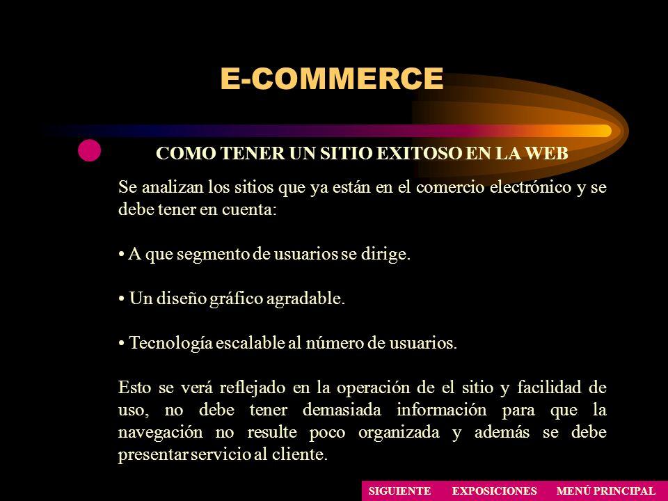 E-COMMERCE COMO TENER UN SITIO EXITOSO EN LA WEB Se analizan los sitios que ya están en el comercio electrónico y se debe tener en cuenta: A que segme