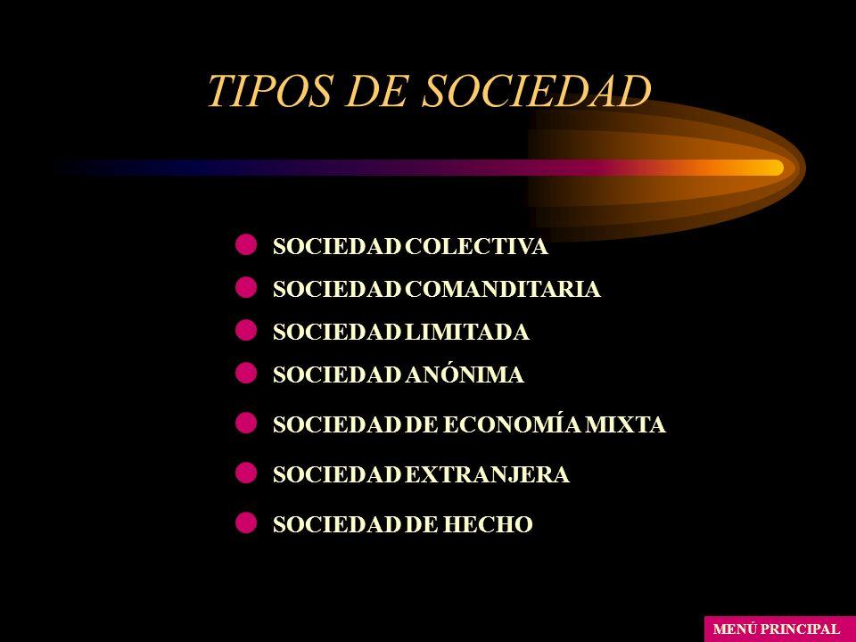 TIPOS DE SOCIEDAD MENÚ PRINCIPAL SOCIEDAD COLECTIVA SOCIEDAD LIMITADA SOCIEDAD ANÓNIMA SOCIEDAD DE ECONOMÍA MIXTA SOCIEDAD EXTRANJERA SOCIEDAD DE HECH