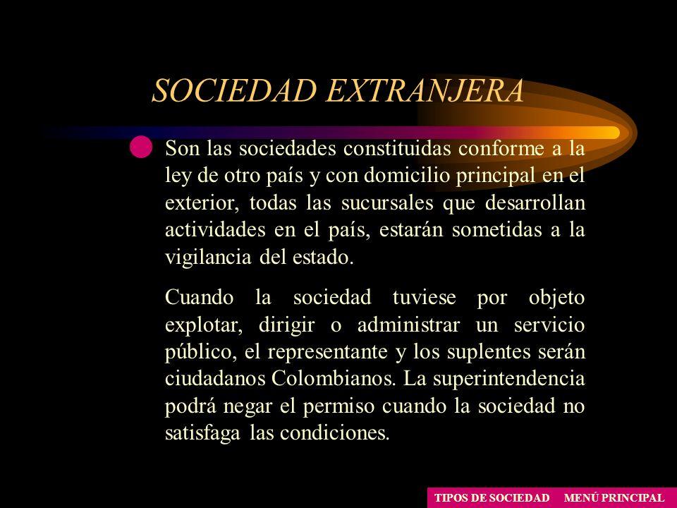 SOCIEDAD EXTRANJERA MENÚ PRINCIPALTIPOS DE SOCIEDAD Son las sociedades constituidas conforme a la ley de otro país y con domicilio principal en el ext