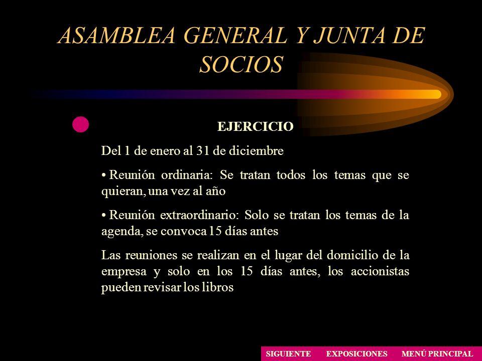ASAMBLEA GENERAL Y JUNTA DE SOCIOS SIGUIENTE EJERCICIO Del 1 de enero al 31 de diciembre Reunión ordinaria: Se tratan todos los temas que se quieran,