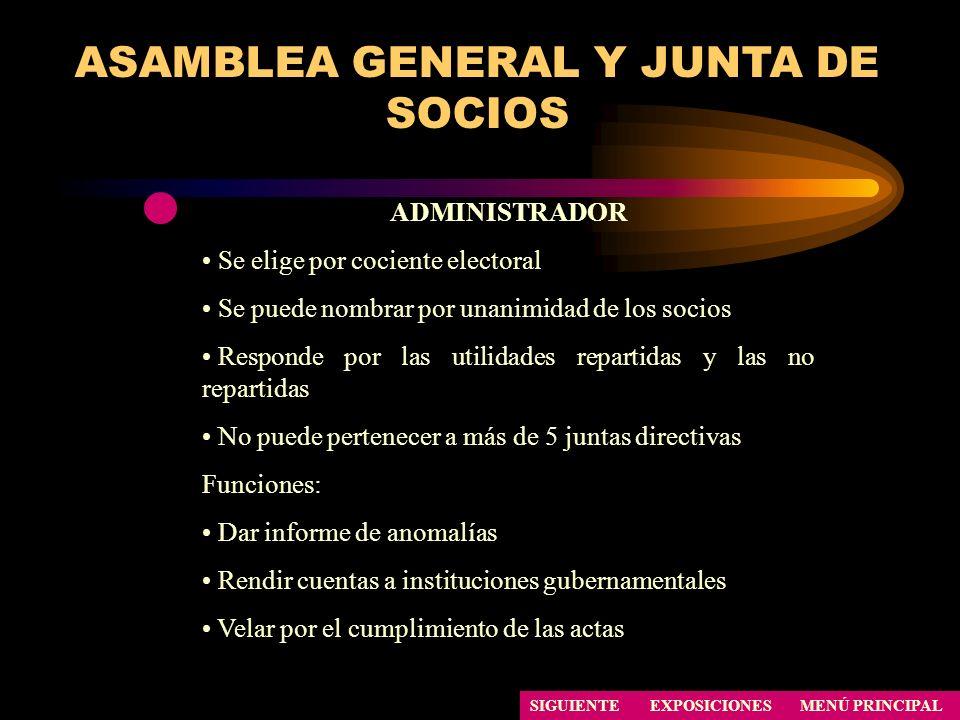 ASAMBLEA GENERAL Y JUNTA DE SOCIOS SIGUIENTE ADMINISTRADOR Se elige por cociente electoral Se puede nombrar por unanimidad de los socios Responde por