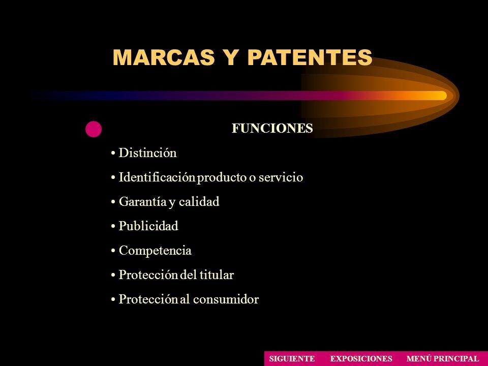 SIGUIENTE FUNCIONES Distinción Identificación producto o servicio Garantía y calidad Publicidad Competencia Protección del titular Protección al consu