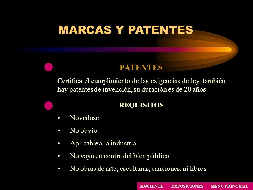 SIGUIENTE PATENTES Certifica el cumplimiento de las exigencias de ley, también hay patentes de invención, su duración es de 20 años. MARCAS Y PATENTES