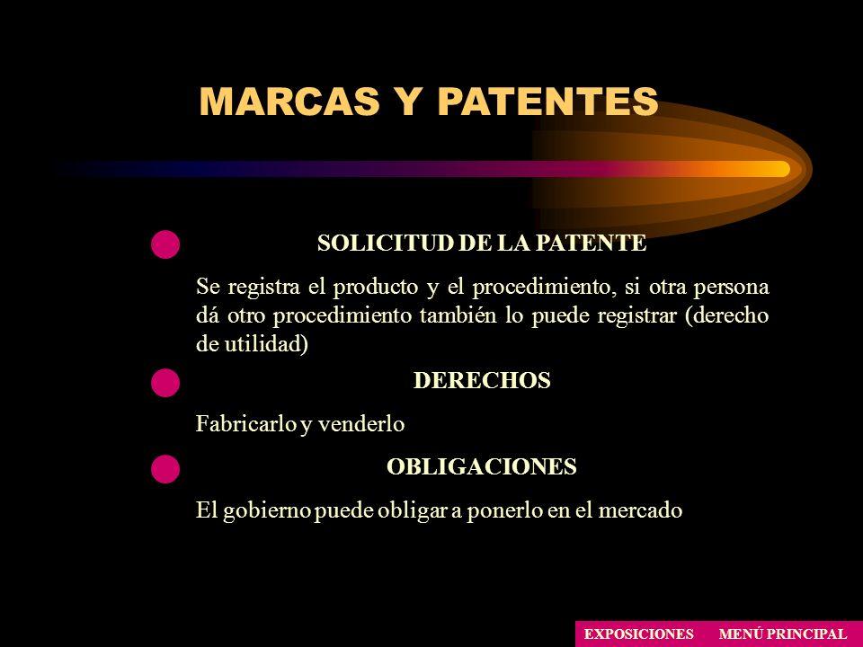 SOLICITUD DE LA PATENTE Se registra el producto y el procedimiento, si otra persona dá otro procedimiento también lo puede registrar (derecho de utili