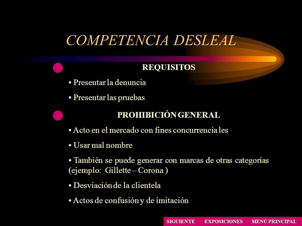 COMPETENCIA DESLEAL SIGUIENTE REQUISITOS Presentar la denuncia Presentar las pruebas PROHIBICIÓN GENERAL Acto en el mercado con fines concurrencia les