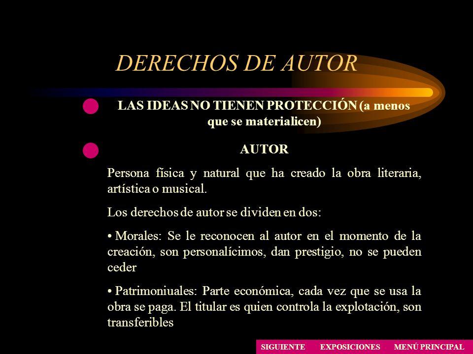DERECHOS DE AUTOR SIGUIENTE LAS IDEAS NO TIENEN PROTECCIÓN (a menos que se materialicen) AUTOR Persona física y natural que ha creado la obra literari