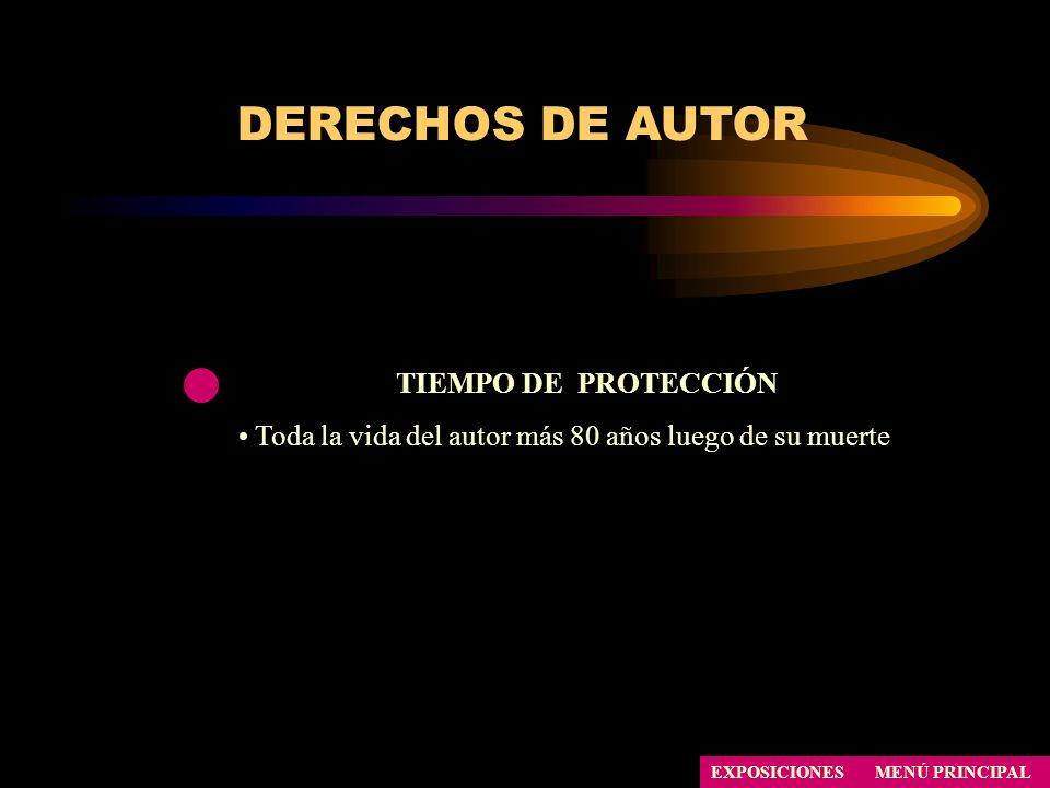 DERECHOS DE AUTOR TIEMPO DE PROTECCIÓN Toda la vida del autor más 80 años luego de su muerte EXPOSICIONESMENÚ PRINCIPAL
