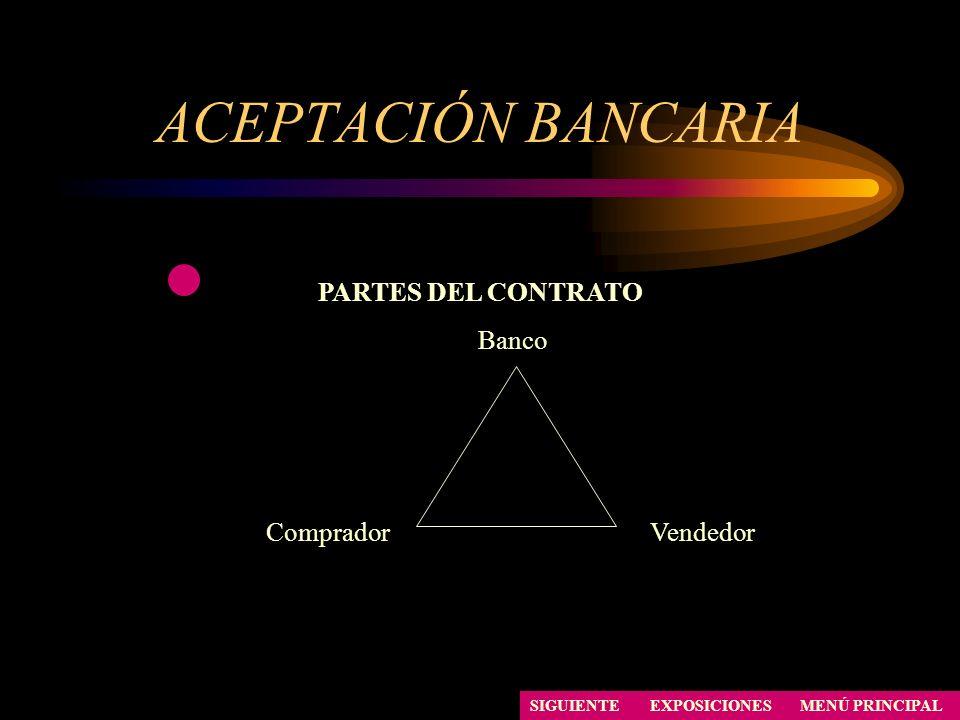 ACEPTACIÓN BANCARIA SIGUIENTE PARTES DEL CONTRATO Banco CompradorVendedor EXPOSICIONESMENÚ PRINCIPAL