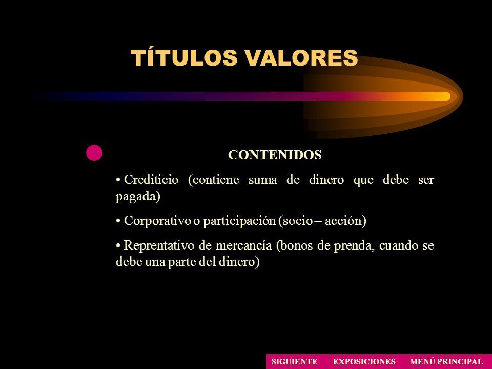 TÍTULOS VALORES SIGUIENTE CONTENIDOS Crediticio (contiene suma de dinero que debe ser pagada) Corporativo o participación (socio – acción) Reprentativ