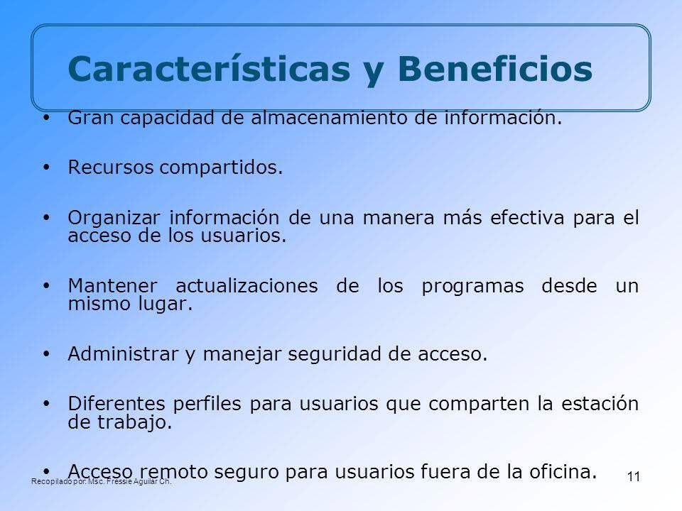 Recopilado por: Msc. Fressie Aguilar Ch. 11 Características y Beneficios Gran capacidad de almacenamiento de información. Recursos compartidos. Organi
