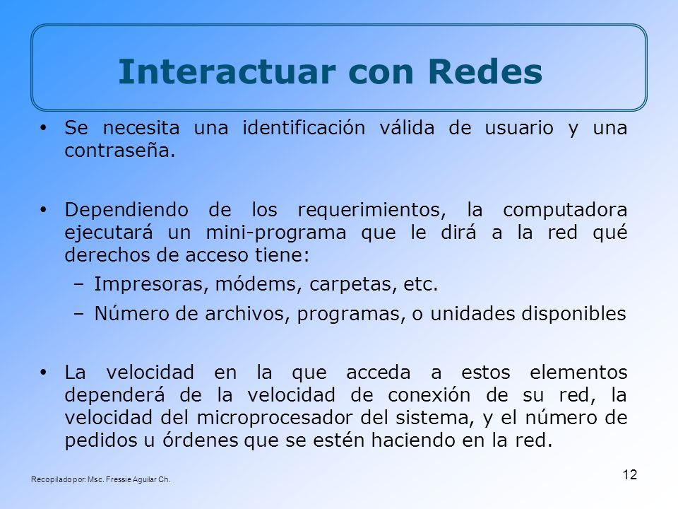 Recopilado por: Msc. Fressie Aguilar Ch. 12 Interactuar con Redes Se necesita una identificación válida de usuario y una contraseña. Dependiendo de lo