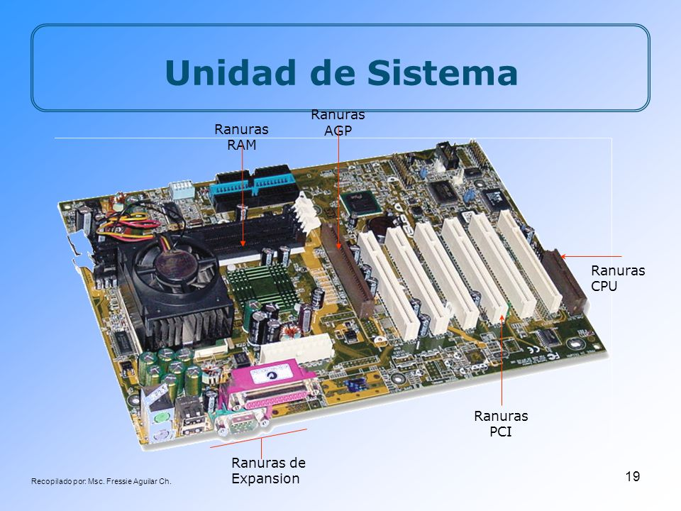 Recopilado por: Msc. Fressie Aguilar Ch. 19 Unidad de Sistema Ranuras de Expansion Ranuras CPU Ranuras RAM Ranuras AGP Ranuras PCI