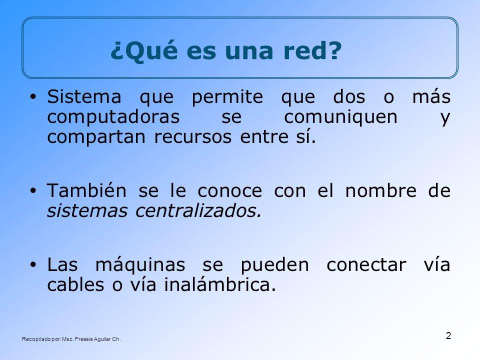 Recopilado por: Msc. Fressie Aguilar Ch. 2 ¿Qué es una red? Sistema que permite que dos o más computadoras se comuniquen y compartan recursos entre sí