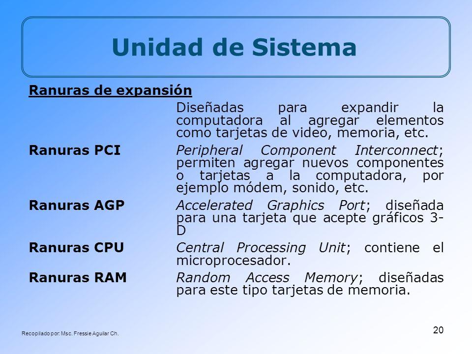 Recopilado por: Msc. Fressie Aguilar Ch. 20 Unidad de Sistema Ranuras de expansión Diseñadas para expandir la computadora al agregar elementos como ta