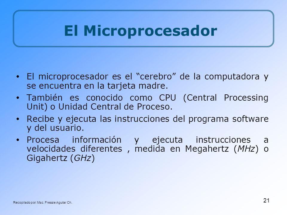 Recopilado por: Msc. Fressie Aguilar Ch. 21 El Microprocesador El microprocesador es el cerebro de la computadora y se encuentra en la tarjeta madre.