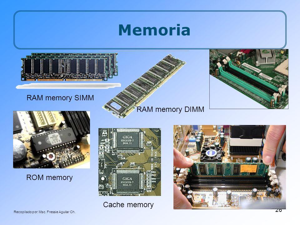 Recopilado por: Msc. Fressie Aguilar Ch. 26 Memoria ROM memory RAM memory SIMM RAM memory DIMM Cache memory