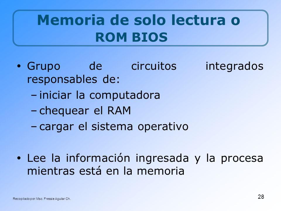 Recopilado por: Msc. Fressie Aguilar Ch. 28 Memoria de solo lectura o ROM BIOS Grupo de circuitos integrados responsables de: –iniciar la computadora