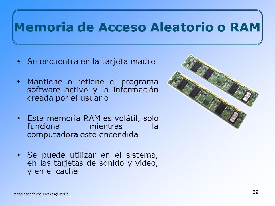 Recopilado por: Msc. Fressie Aguilar Ch. 29 Se encuentra en la tarjeta madre Mantiene o retiene el programa software activo y la información creada po
