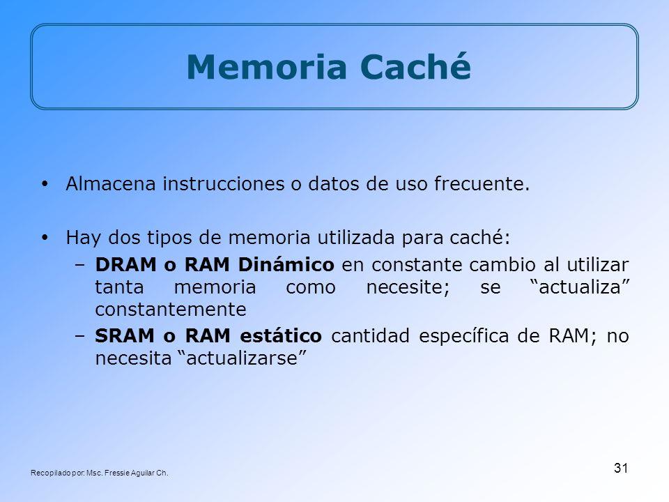 Recopilado por: Msc. Fressie Aguilar Ch. 31 Memoria Caché Almacena instrucciones o datos de uso frecuente. Hay dos tipos de memoria utilizada para cac