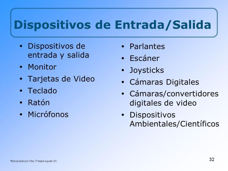 Recopilado por: Msc. Fressie Aguilar Ch. 32 Dispositivos de Entrada/Salida Dispositivos de entrada y salida Monitor Tarjetas de Video Teclado Ratón Mi