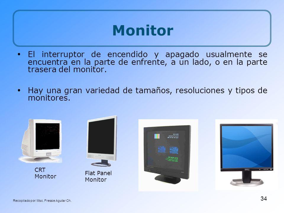 Recopilado por: Msc. Fressie Aguilar Ch. 34 CRT Monitor Flat Panel Monitor Monitor El interruptor de encendido y apagado usualmente se encuentra en la