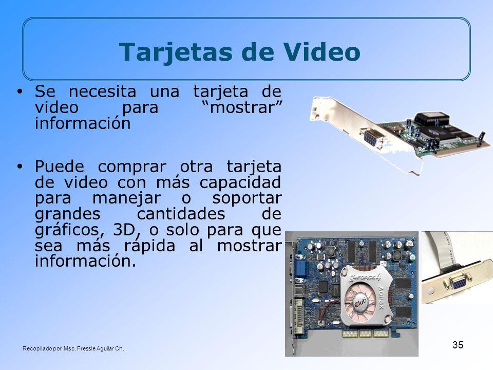 Recopilado por: Msc. Fressie Aguilar Ch. 35 Tarjetas de Video Se necesita una tarjeta de video para mostrar información Puede comprar otra tarjeta de
