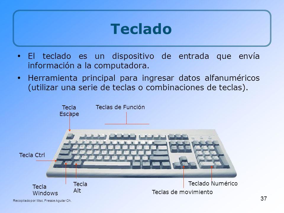 Recopilado por: Msc. Fressie Aguilar Ch. 37 Tecla Windows Teclado El teclado es un dispositivo de entrada que envía información a la computadora. Herr