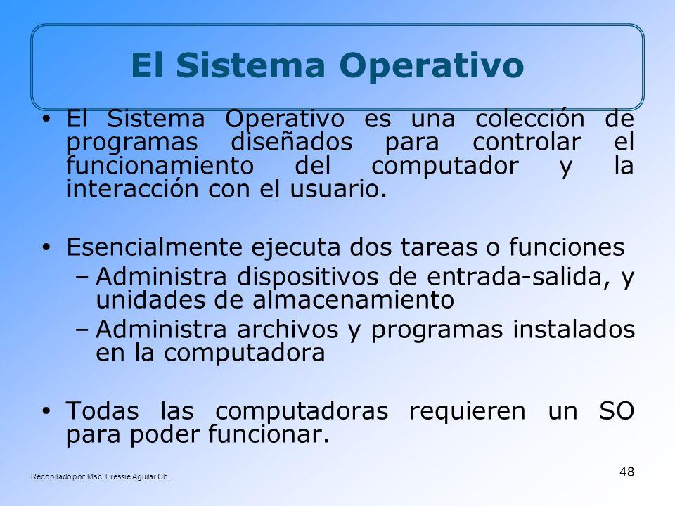 Recopilado por: Msc. Fressie Aguilar Ch. 48 El Sistema Operativo El Sistema Operativo es una colección de programas diseñados para controlar el funcio
