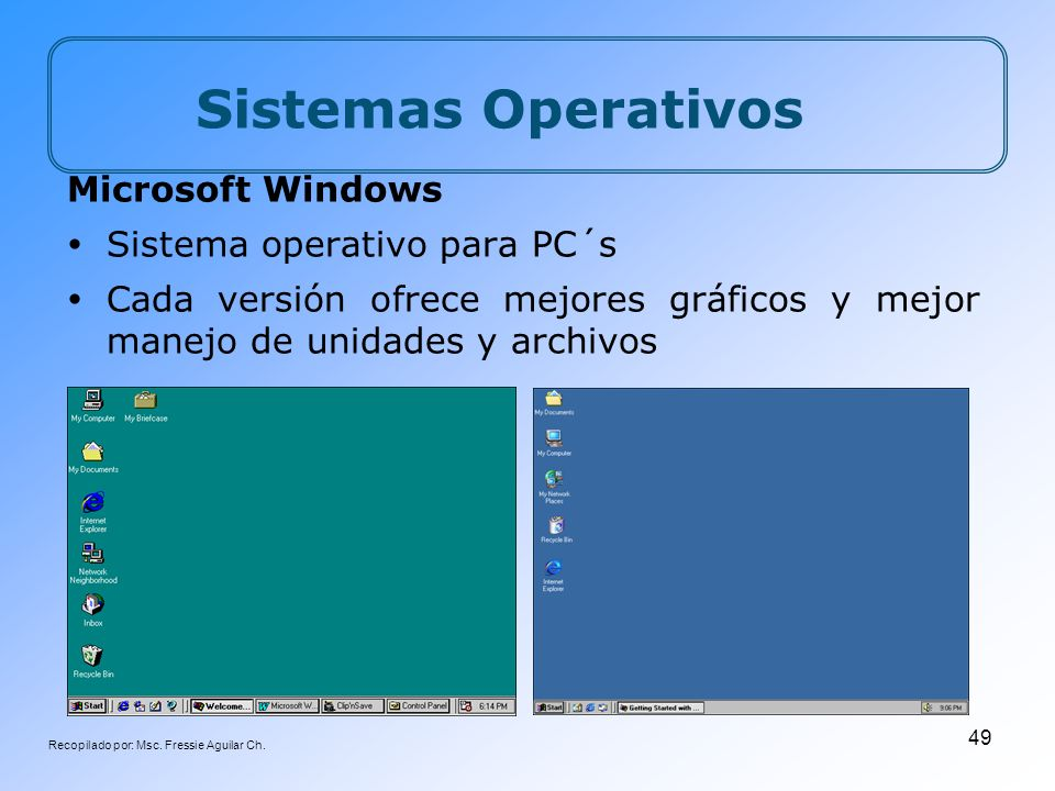 Recopilado por: Msc. Fressie Aguilar Ch. 49 Sistemas Operativos Microsoft Windows Sistema operativo para PC´s Cada versión ofrece mejores gráficos y m