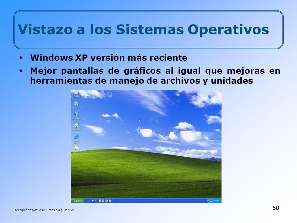 Recopilado por: Msc. Fressie Aguilar Ch. 50 Vistazo a los Sistemas Operativos Windows XP versión más reciente Mejor pantallas de gráficos al igual que