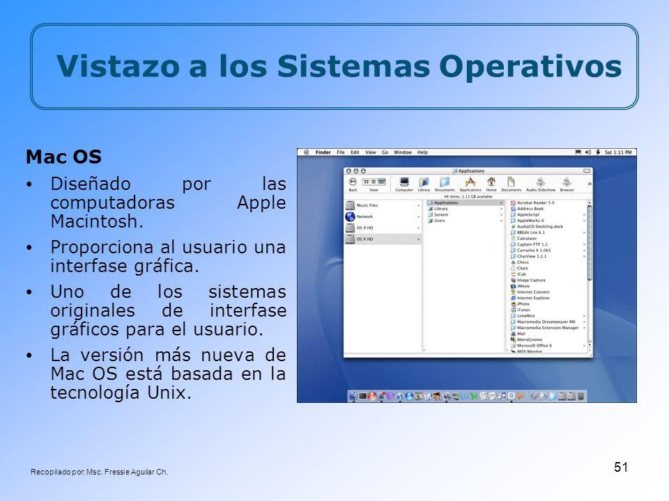 Recopilado por: Msc. Fressie Aguilar Ch. 51 Mac OS Diseñado por las computadoras Apple Macintosh. Proporciona al usuario una interfase gráfica. Uno de