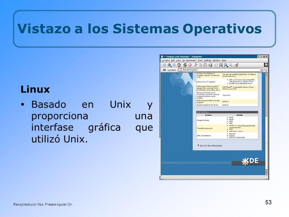 Recopilado por: Msc. Fressie Aguilar Ch. 53 Linux Basado en Unix y proporciona una interfase gráfica que utilizó Unix. Vistazo a los Sistemas Operativ